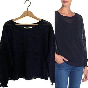 J Brand Navy Knit Linen Blend Crew Neck Sweater!